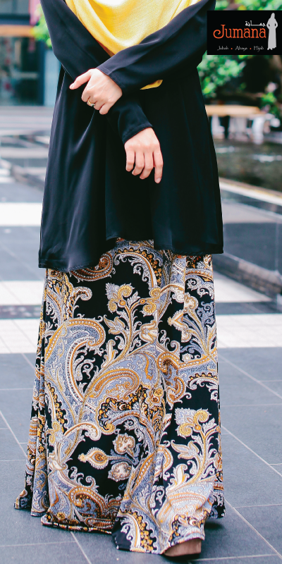 Skirt - Paisley Black Mustard