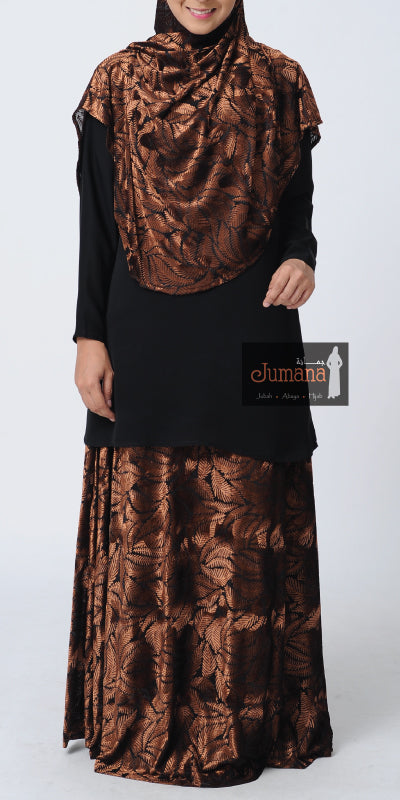Velvet Skirt - Dark Brown Fern
