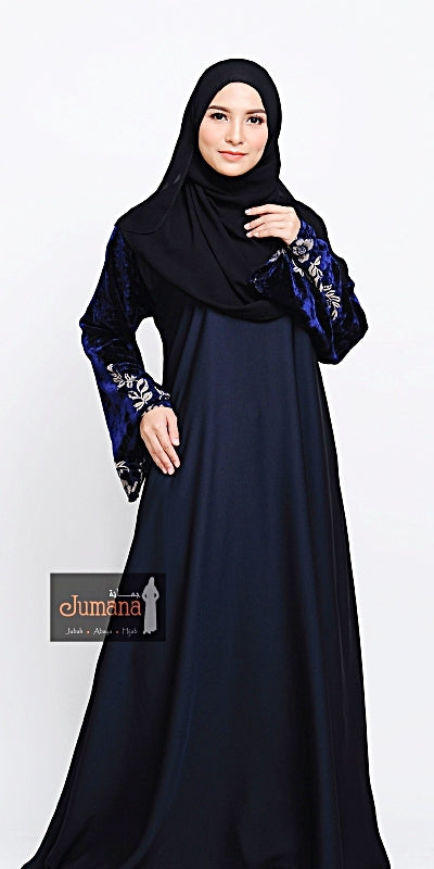 Abaya Velvet Flower - Deep Blue