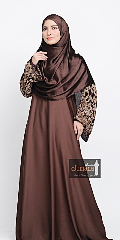 Abaya Velvet Flower - Brown