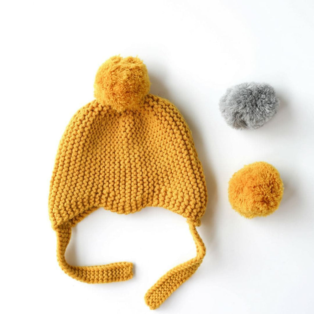 Citrine Merino Wool Hat with Pompoms Beanies Le Edit 3-6 Months
