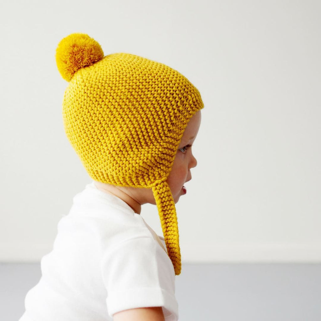 Citrine Merino Wool Hat with Pompoms Beanies Le Edit