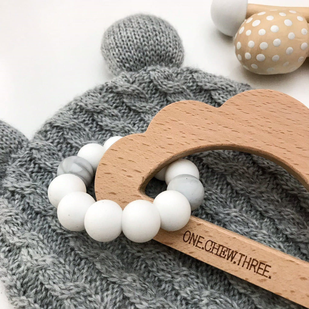 Cloud Silicone and Beech Wood Teether Teether One Chew Three