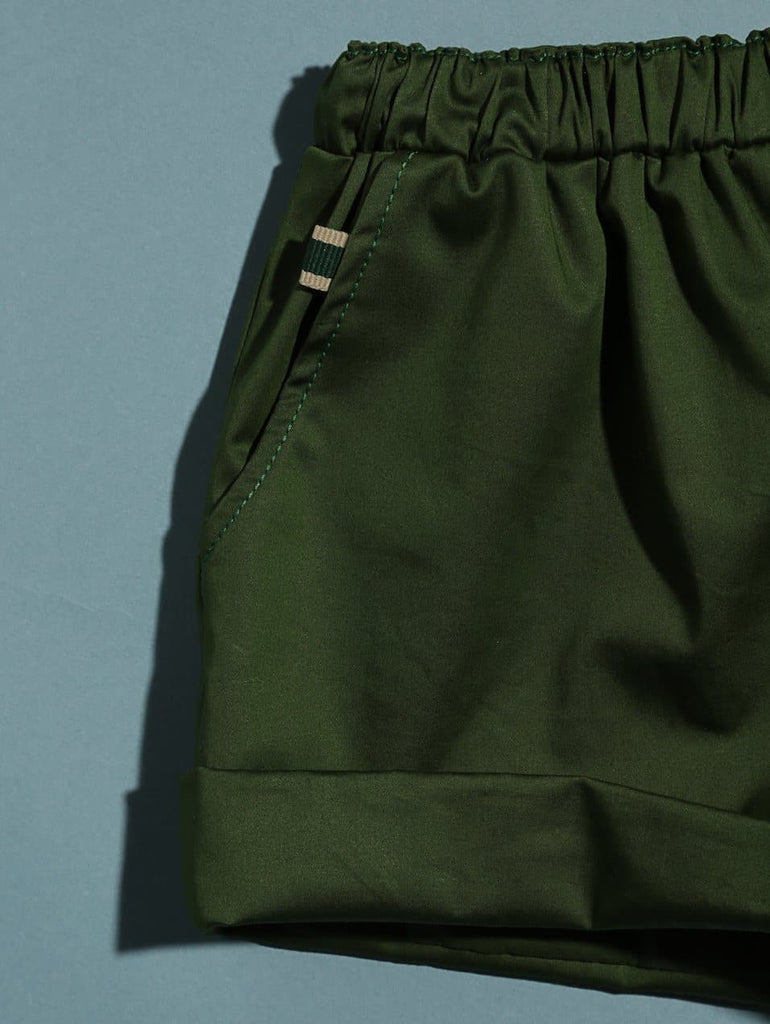 Cotton Twill Sammi Cuffed Shorts - Green Shorts RAARAA Kids