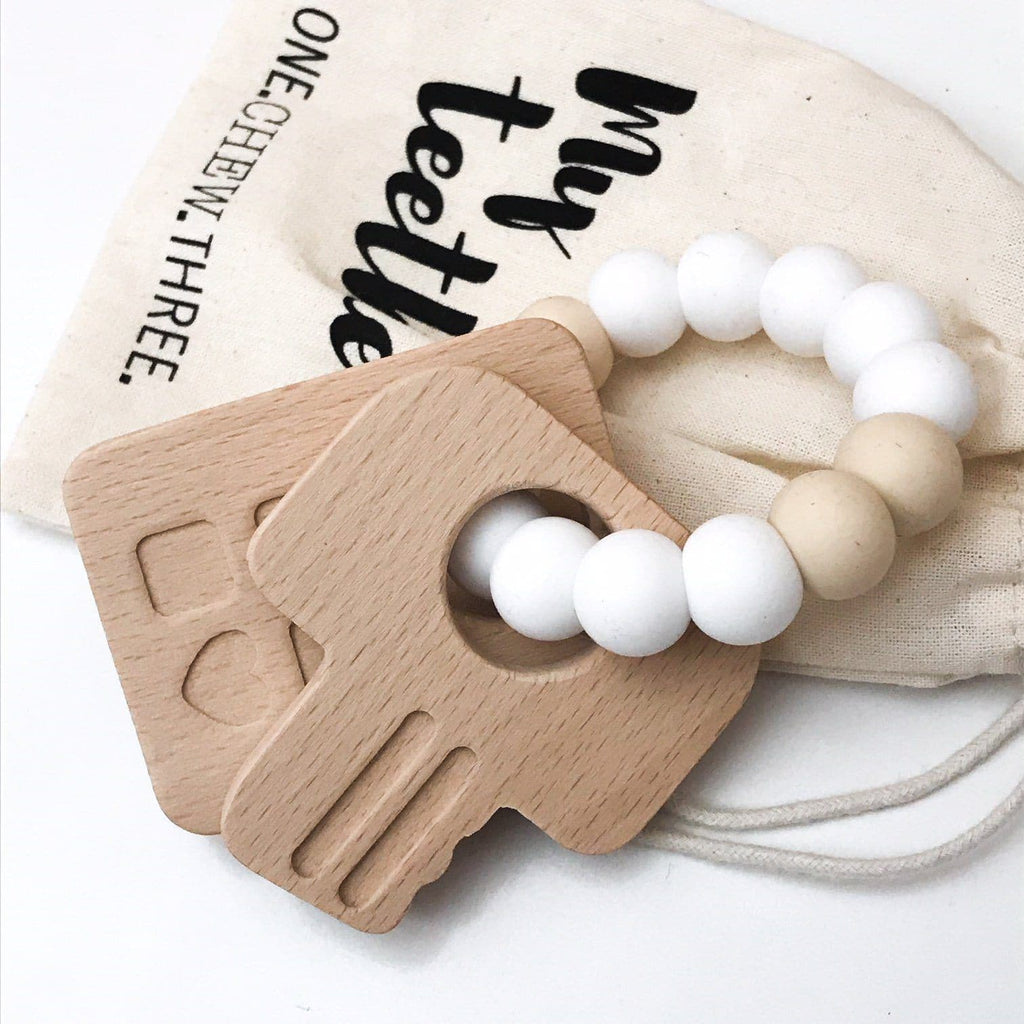Keys To My Heart Silicone and Beech Wood Teether - Pink Teether One Chew Three
