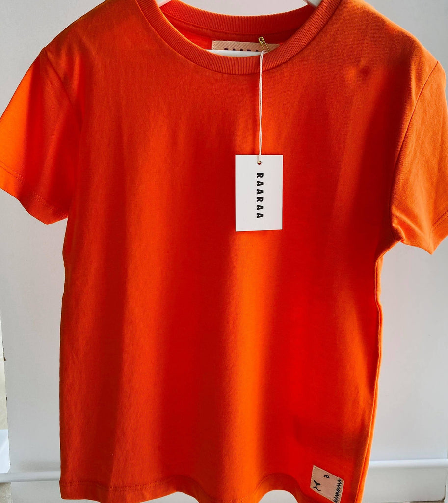 Organic Cotton Classic Fit Clyde Tee - Orange T-Shirts RAARAA Kids