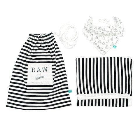 Bibalicious Raw Gift Pack - Stripe Blanket & Triangle Bib
