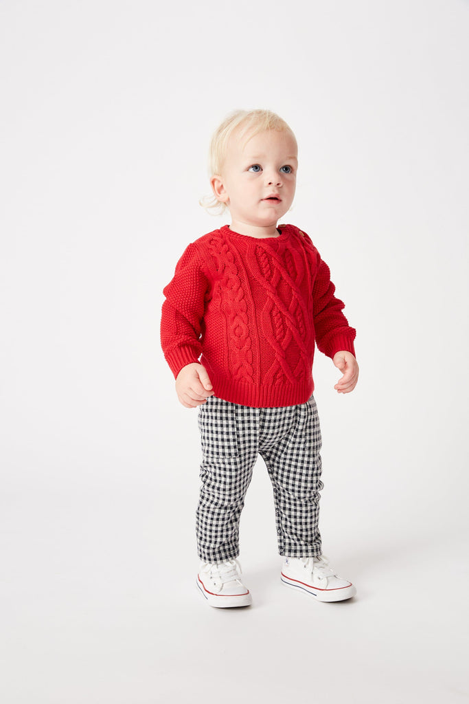 Red Cable Knit Jumper Jumpers Milky