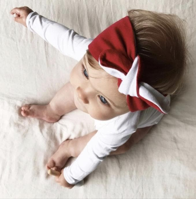 Red & White Topknot Headband Mae & Rae 12-18 Months
