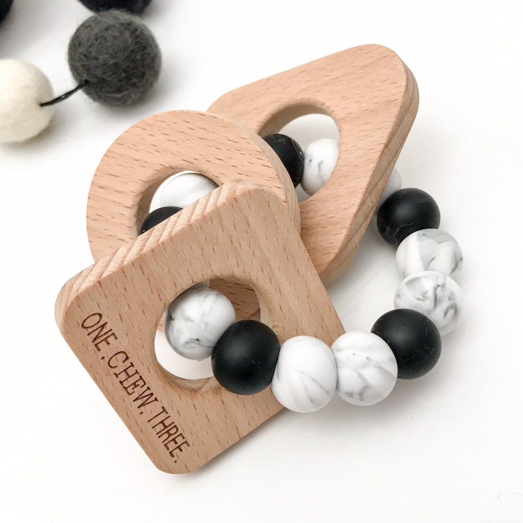 Shapes Silicone and Beech Wood Teether - Mono Teether One Chew Three