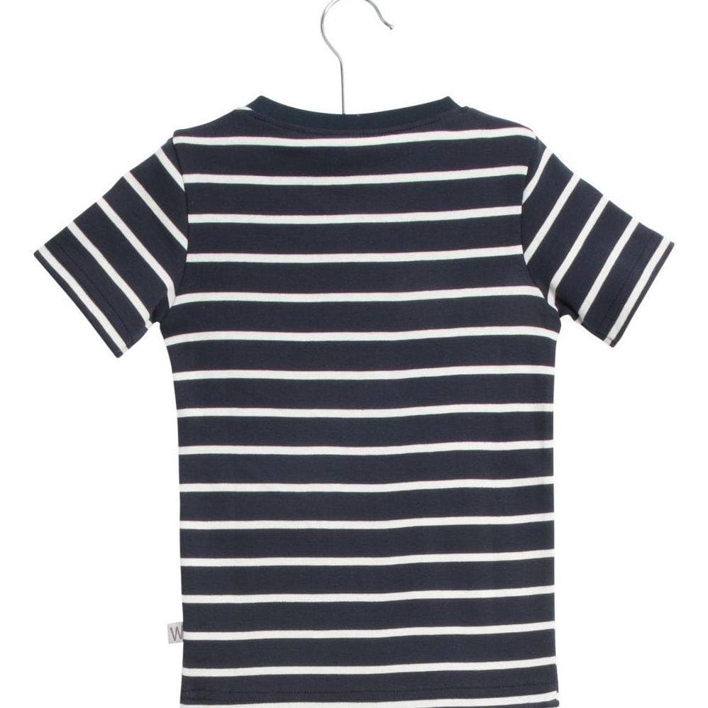 Wheat Wagner Sleeve T-Shirt - Navy