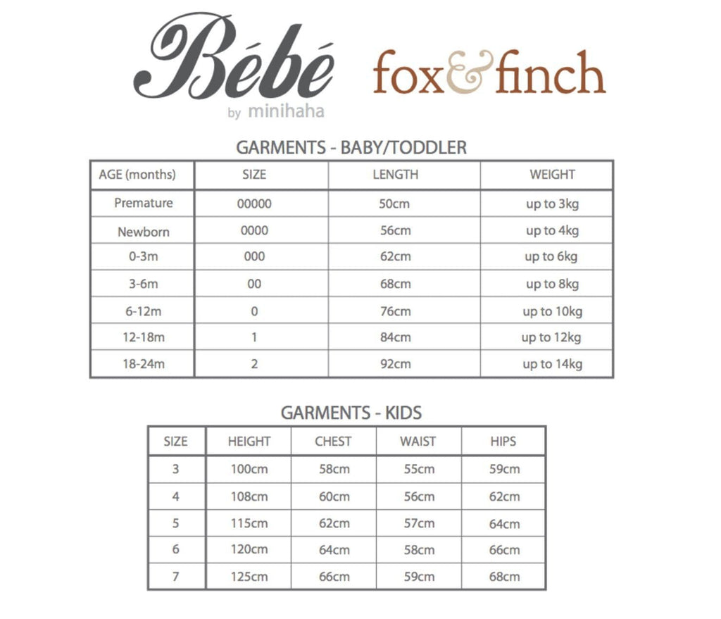 FOX & FINCH BEBE SIZE CHART