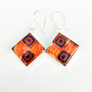 Millefiori Murano millefiori resin and glass large diamond drop earrings 18mm