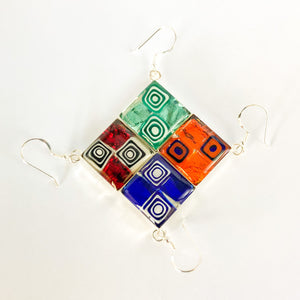 Murano millefiori resin and glass large diamond drop earrings 18mm