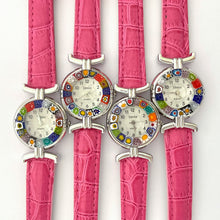 Millefiori drop earrings multicolour silver 14mm