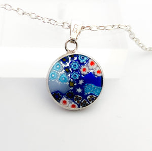 Millefiori pendant 14mm multicolour silver including chain