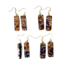 Murano plate glass long thin rectangle pendant with gold chain