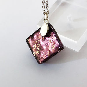 Murano plate glass square pendant with silver chain