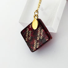 Murano plate glass square pendant with gold chain