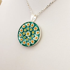 Murano millefiori and resin mosaic medium pendant 25mm