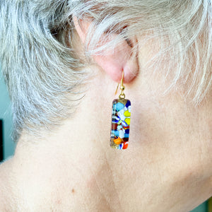 Millefiori drop earrings multicolour gold 14mm