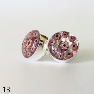 Millefiori Murano millefiori and resin flower mosaic sterling silver stud