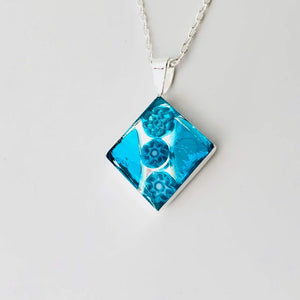 Millefiori Murano millefiori and resin mosaic small diamond pendant 18mm