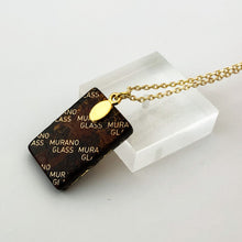Murano plate glass large rectangle pendant with gold chain