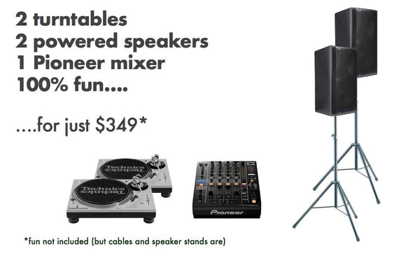 HIRE - Turntable party package - turntables, speakers and mixer