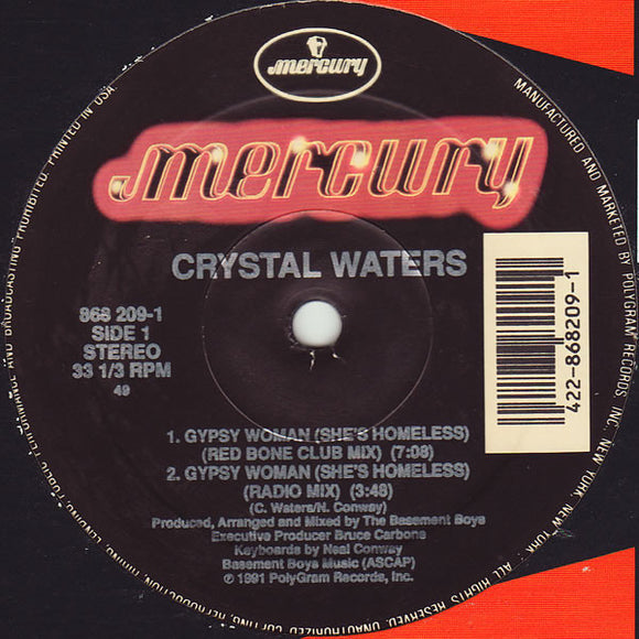 Crystal Waters ‎– Gypsy Woman (She's Homeless)  BIG house classic TIP!!