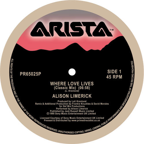 Alison Limerick -Where Love Lives [Remastered reissue celebrating the 30-year anniversary of the seminal 1990 club hit ** BIG TUNE **
