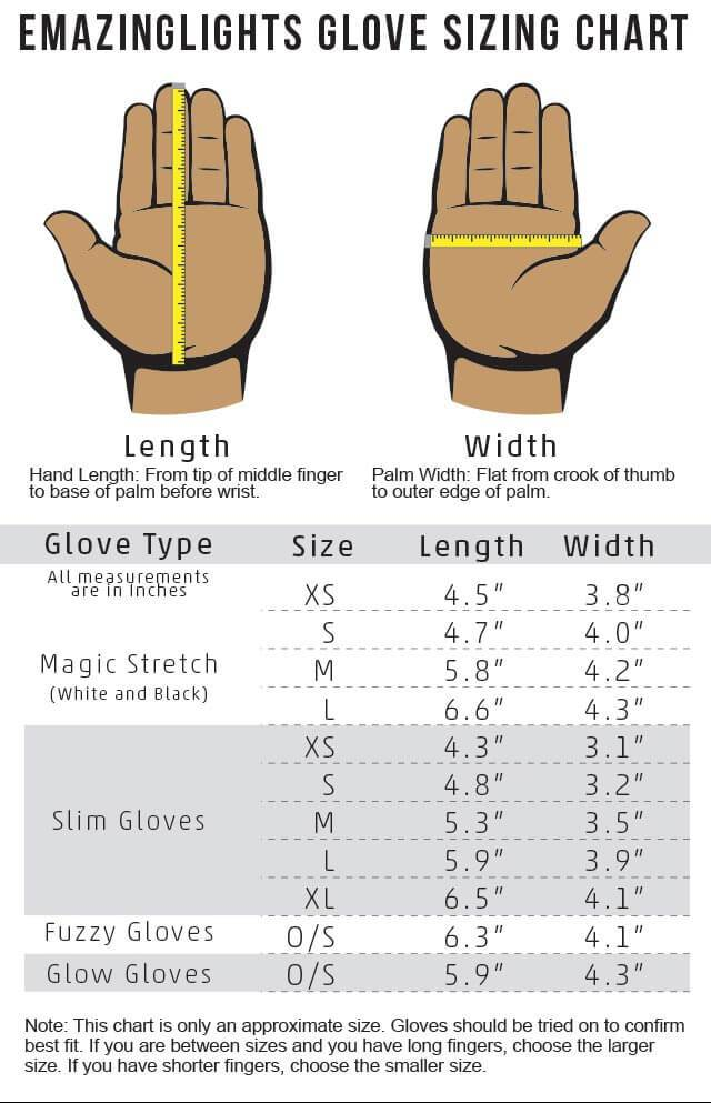 EmazingLights White Magic Stretch Gloves Size Chart