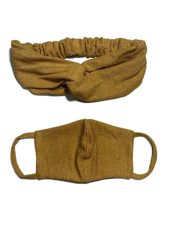 REUSABLE HEADBAND AND FACE MASK- GOLD