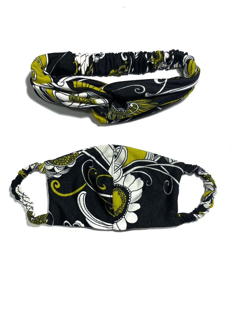 REUSABLE HEADBAND AND FACE MASK- YELLOW (4705931591764)