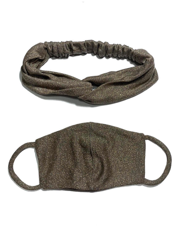 REUSABLE HEADBAND AND MASK- GREY