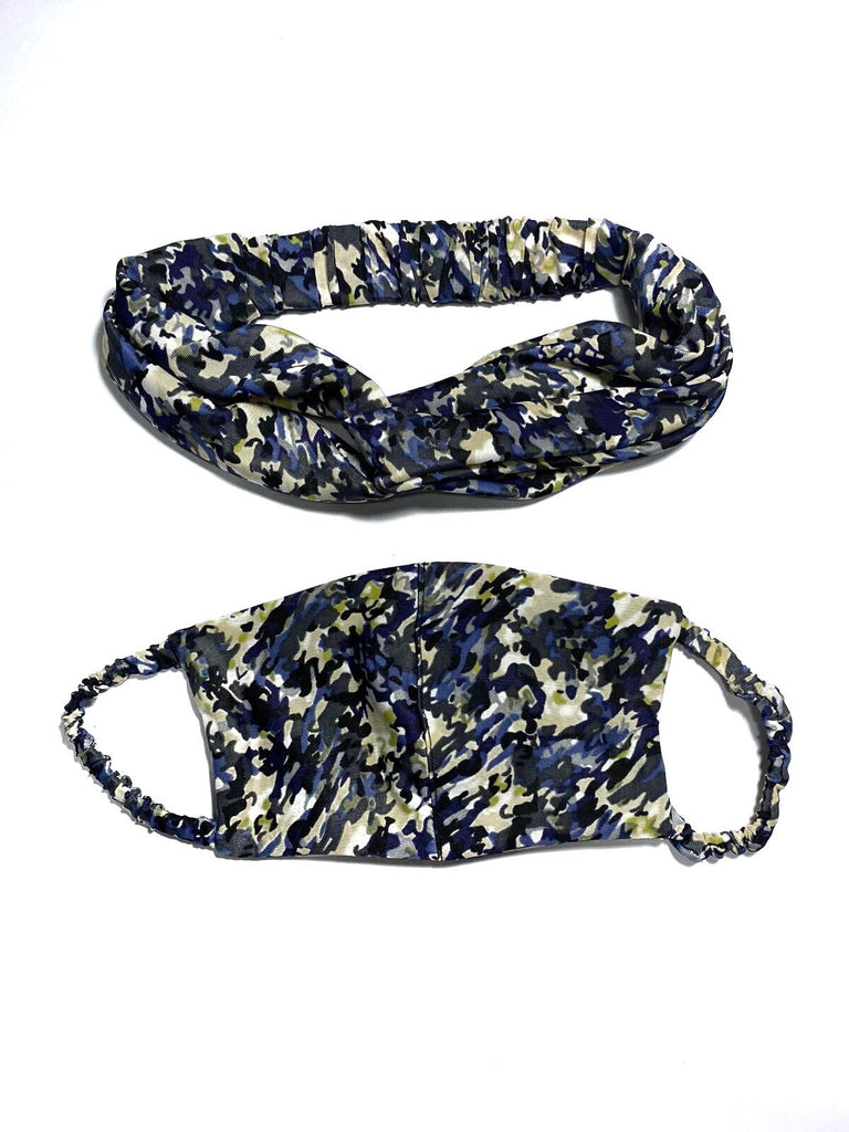 REUSABLE HEADBAND AND FACE MASK- BLUE (4704558055508)