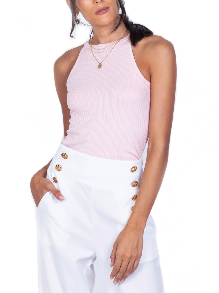 RIBBED KNIT HALTER TOP (4723629621332)