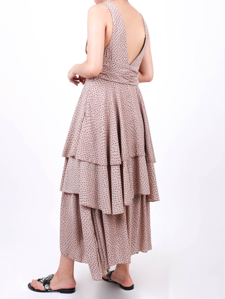 RUCHED WAIST DRESS WITH RUFFLES (4730024132692)
