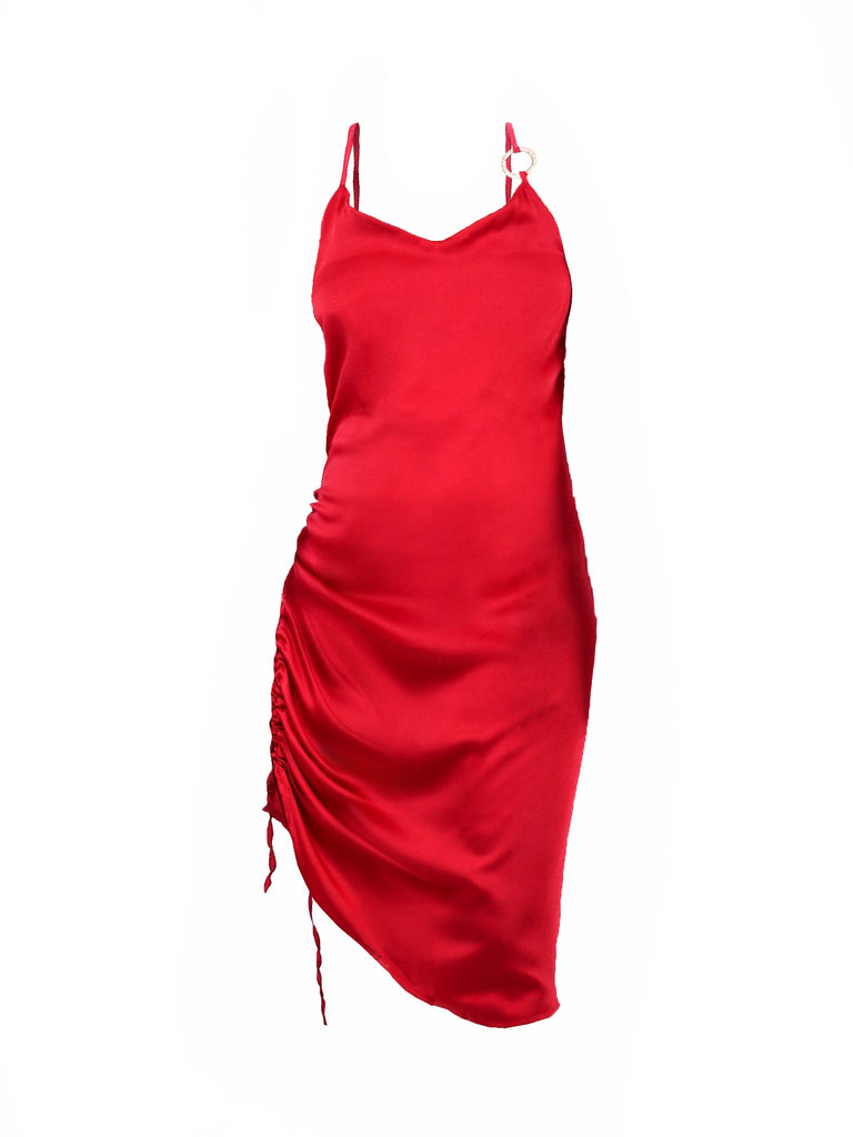 SATIN SLIP DRESS WITH GOLD RING ACCENT (4729827197012)