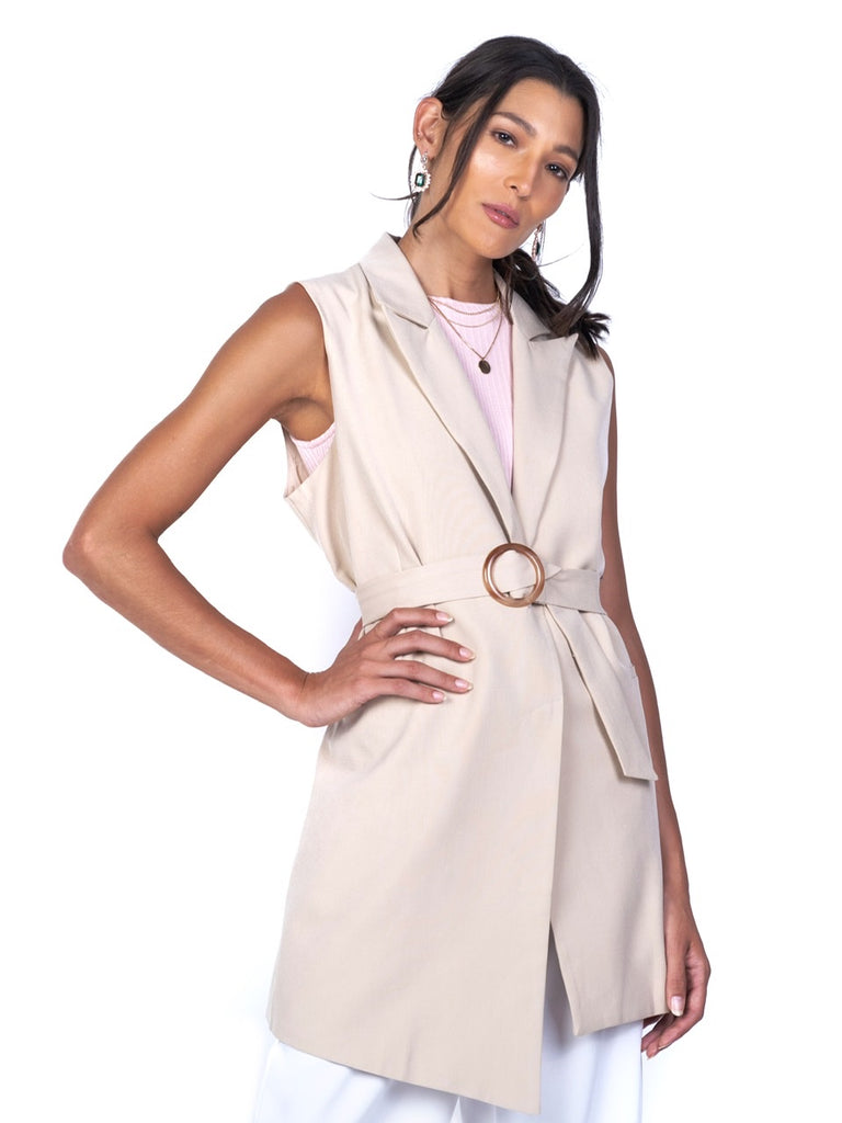 FULLY-LINED LONG VEST WITH RESIN BUCKLE (4680664154196)