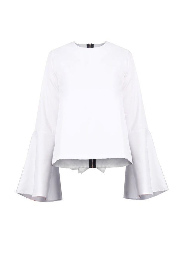BELL-SLEEVED TOP WITH BACK RUFFLE DETAIL