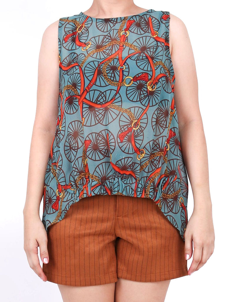 HI-LO CHIFFON SLEEVELESS SCARF PRINT TOP (4684245434452)