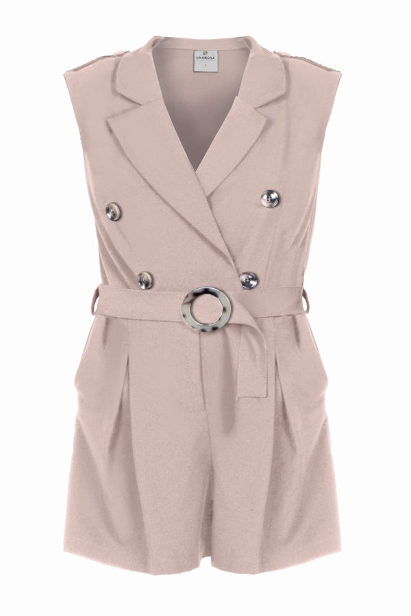 DOUBLE-BREASTED SLEEVELESS ROMPER