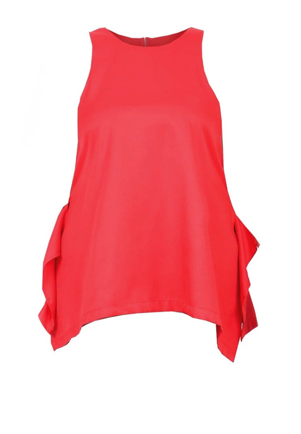 HALTER LONG TOP WITH BACK RUFFLE DETAIL