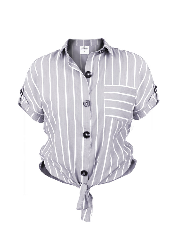 STRIPED TIE-FRONT SHIRT