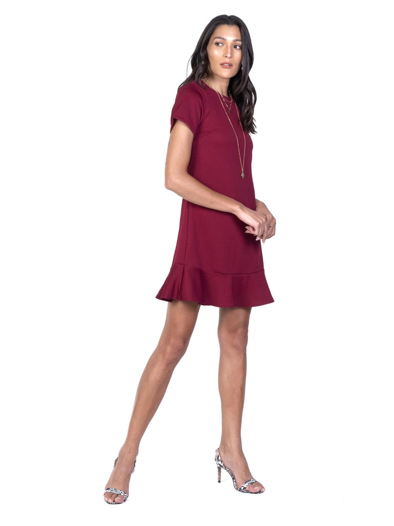 SHORT SLEEVED SHIFT DRESS WITH RUFFLES HEM (4730031505492)