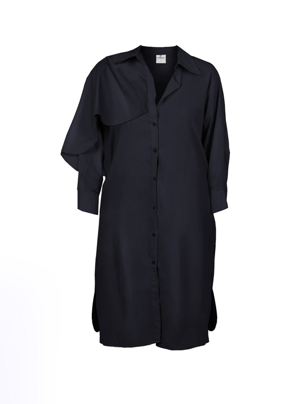 BUTTONDOWN SHIRTDRESS WITH RUFFLE OVERLAY