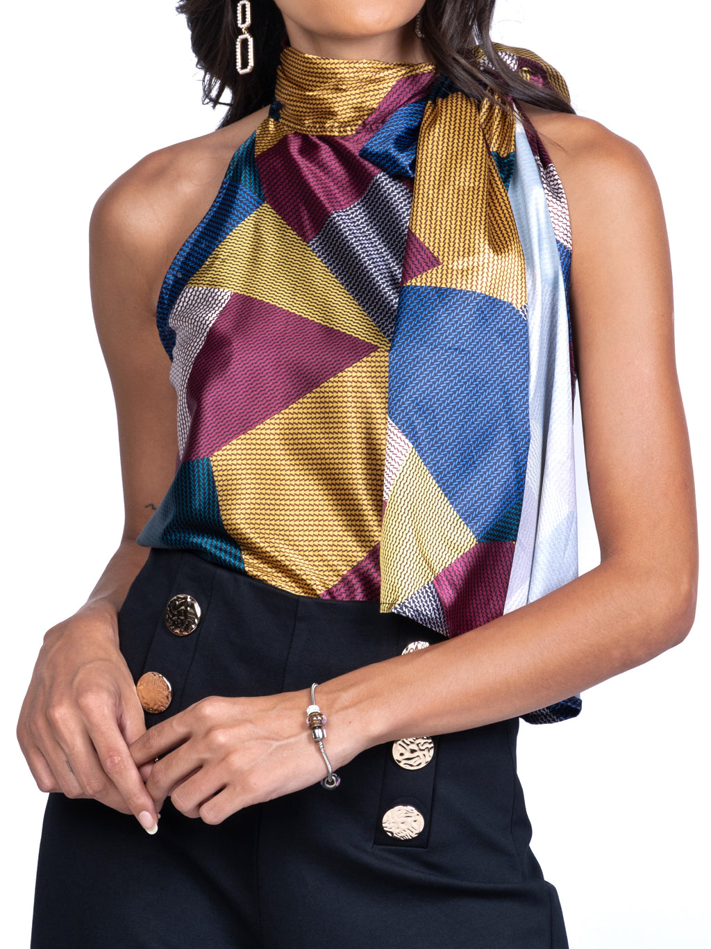 HALTER NECK TOP WITH MULTIWAY RIBBON