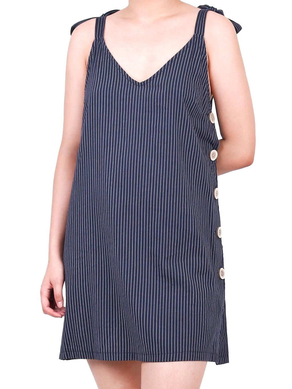 SLEEVELESS V-NECK DRESS (4729814155348)