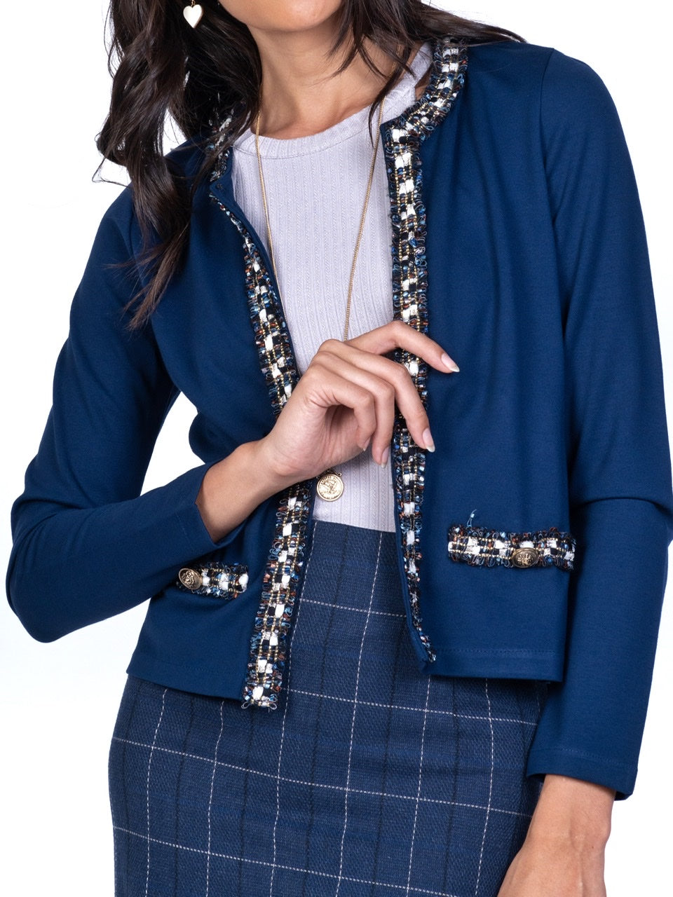 TAILORED KNIT BLAZER WITH METALLIC TRIM